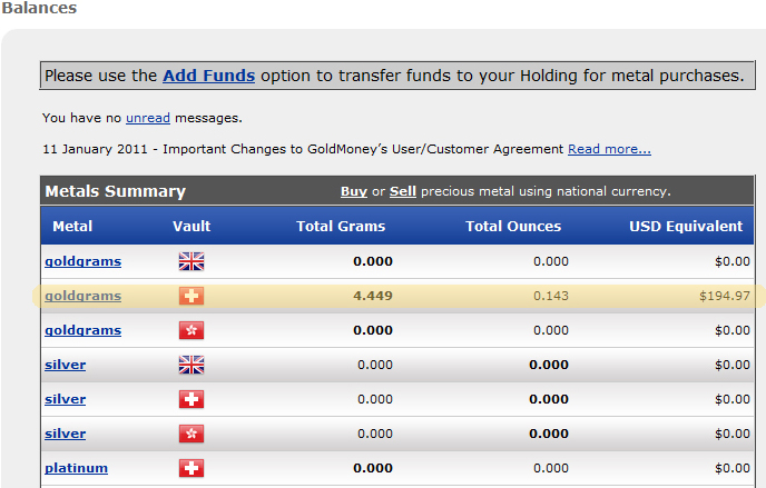 Goldmoney showing the money held as gold in the account